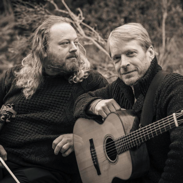 Edwin and Bill, promo, sepia tone portrait