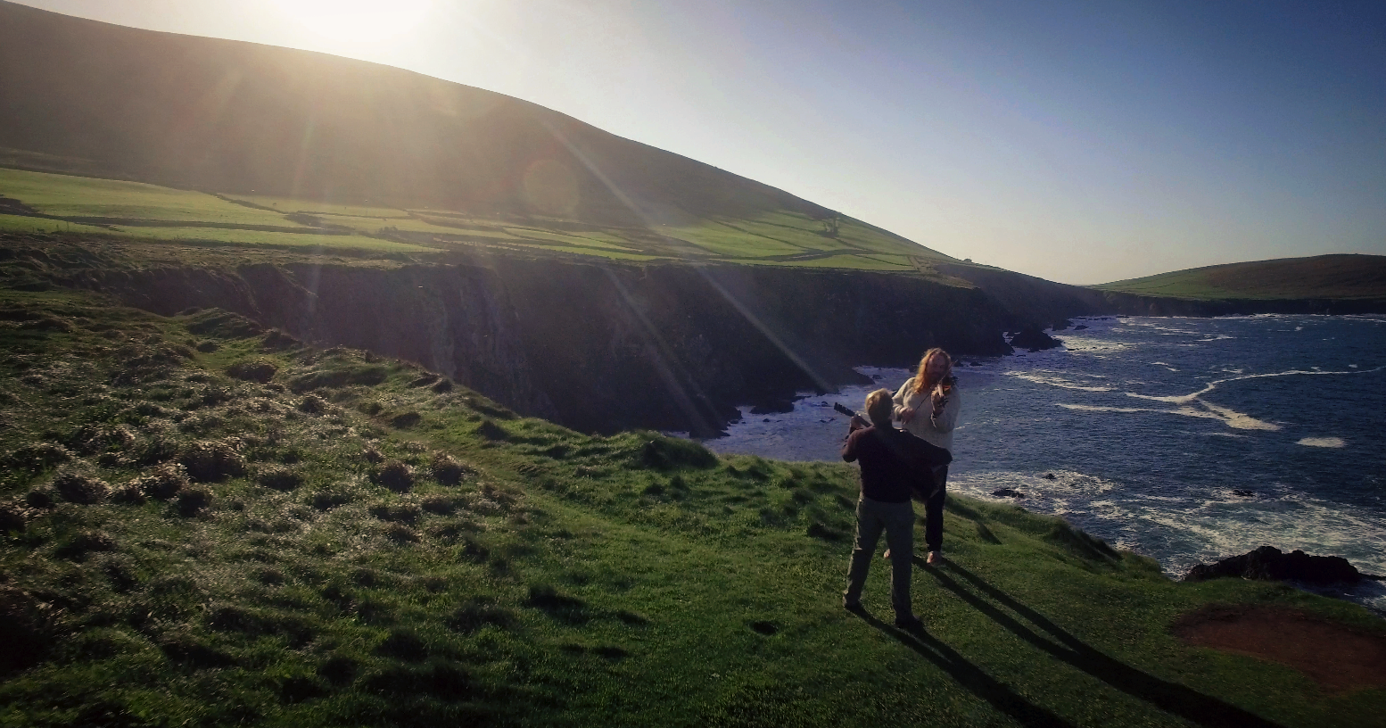 Bill and Edwin on the cliffs in Ireland